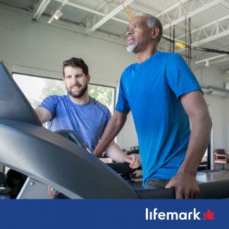 man on a treadmill in a lifemark clinic